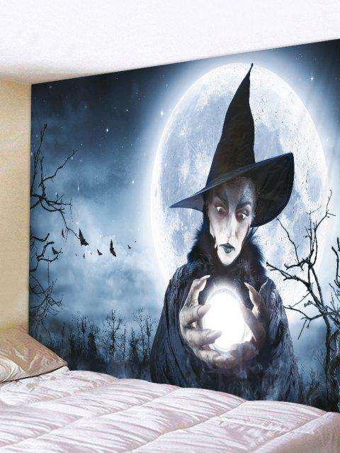 Halloween Witch Moon Printed Pattern Tapestry - BLUE GRAY W79 X L59 INCH