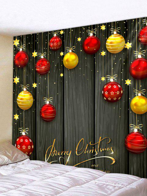 Merry Christmas Balls Star Pattern Tapestry - DARK KHAKI 200*180CM