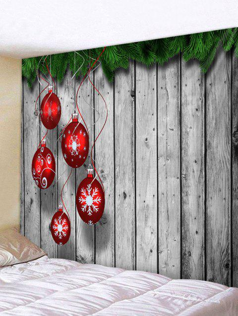Christmas Snowflake Ball Wooden Pattern Tapestry - GRAY 150*130CM