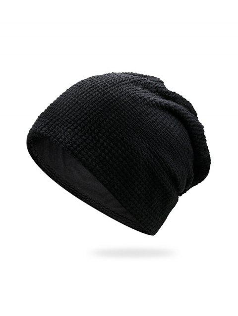 Solid Small Checkered Elastic Knitted Hat - BLACK