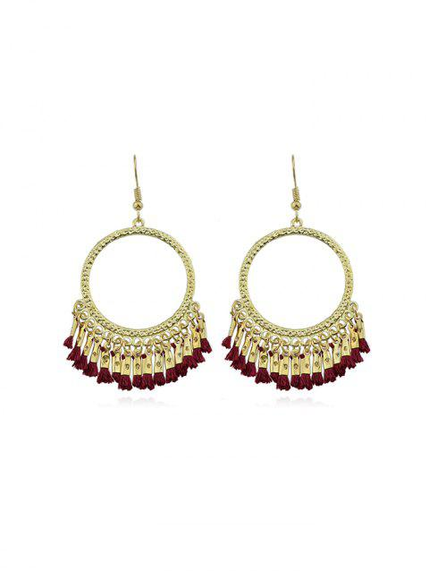 Round Big Ring Tassel Pendant Statement Earrings - LAVA RED