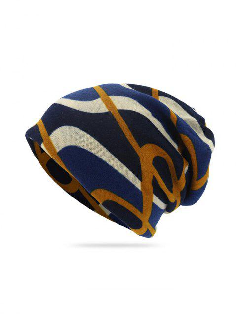 Geometric Striped Print Knitted Double Use Scarf Hat - CADETBLUE