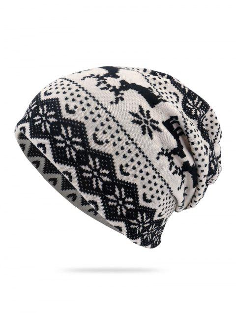 Christmas Snowflake Deer Print Double Use Scarf Hat - WHITE