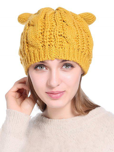Cat Ear Elastic Braid Knitted Hat - YELLOW