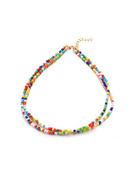 Bohemian Beaded Double Layers Necklace - multicolor