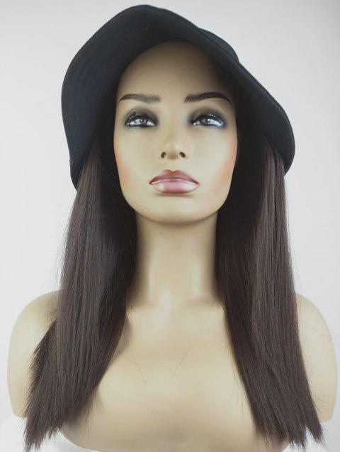 Integrated Synthetic Straight Bucket Cap Wig - MIDNIGHT BLACK FISHERMAN'S CAP