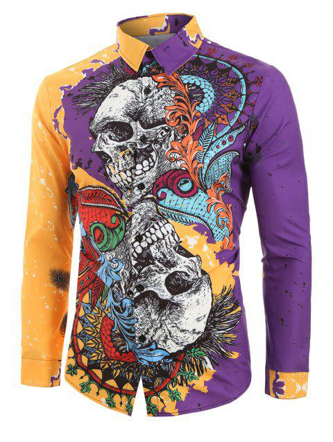 Floral Skull Painting Spliced Halloween Button Shirt - multicolor 2XL