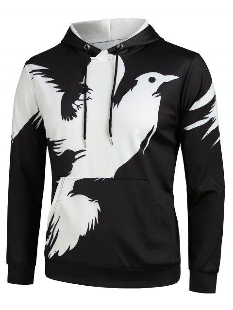 Eagle Print Long Sleeves Pocket Hoodie - BLACK 3XL