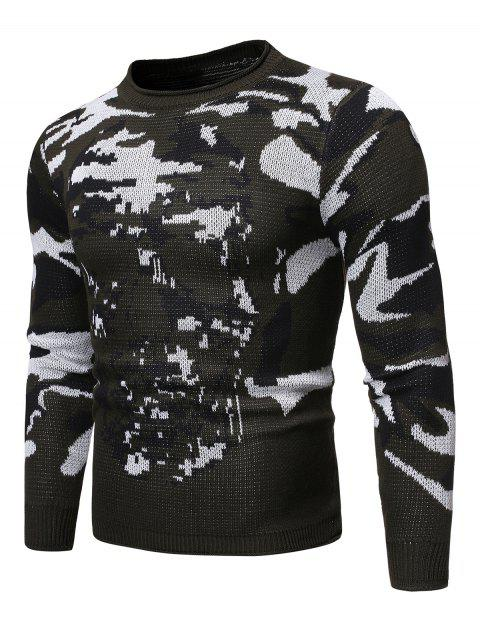 Camo Skull Pattern Long-sleeved Sweater - ARMY GREEN XL
