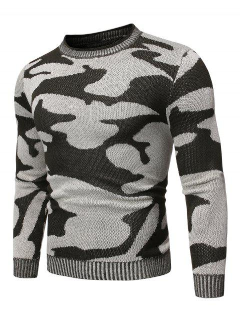 Camo Pattern Long Sleeves Sweater - ARMY GREEN XL