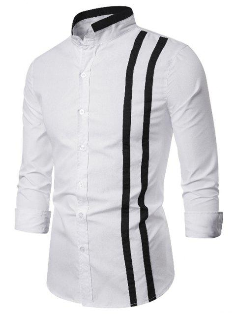 Contrast Trim Stand Collar Button Up Shirt - WHITE 2XL