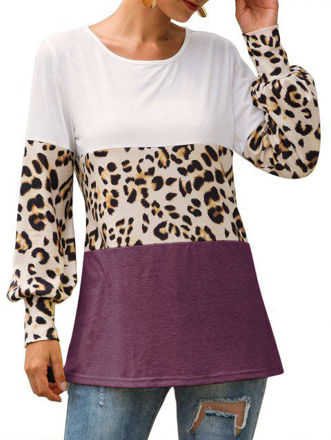 Leopard Colorblock Longline T-shirt - RED WINE XL