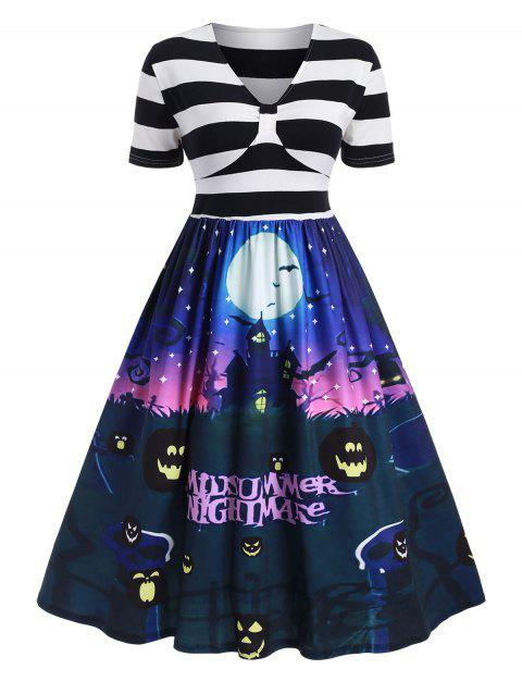 Plus Size Vintage Pumpkin Castle Print Halloween Dress - multicolor A 5X