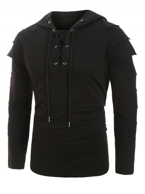 Layered Sleeve Lace-up Front Pullover Hoodie - BLACK XL