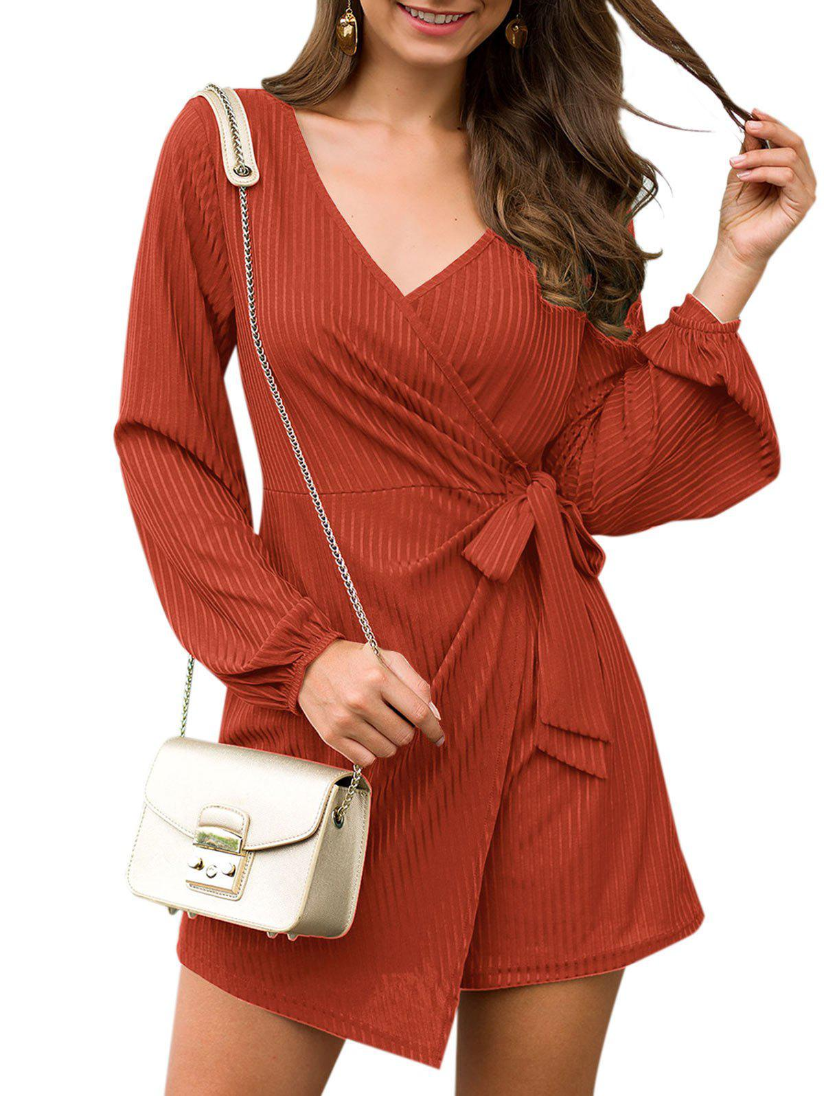 Shadow Striped Plunging Belted Overlay Romper - RED WINE S