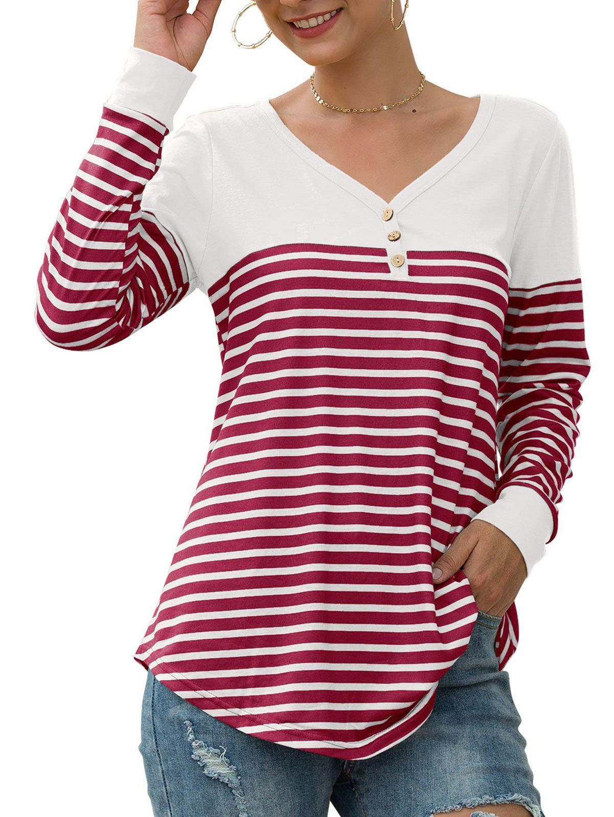 V Neck Striped Mock Button T-shirt - RED S