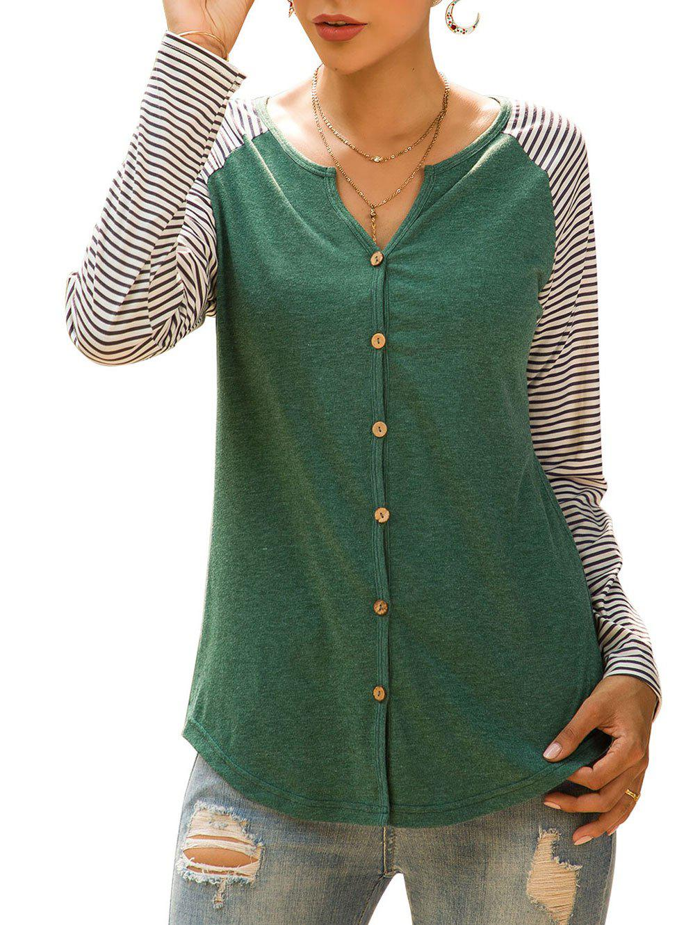 Striped Raglan Sleeve Longline Top - DEEP GREEN L
