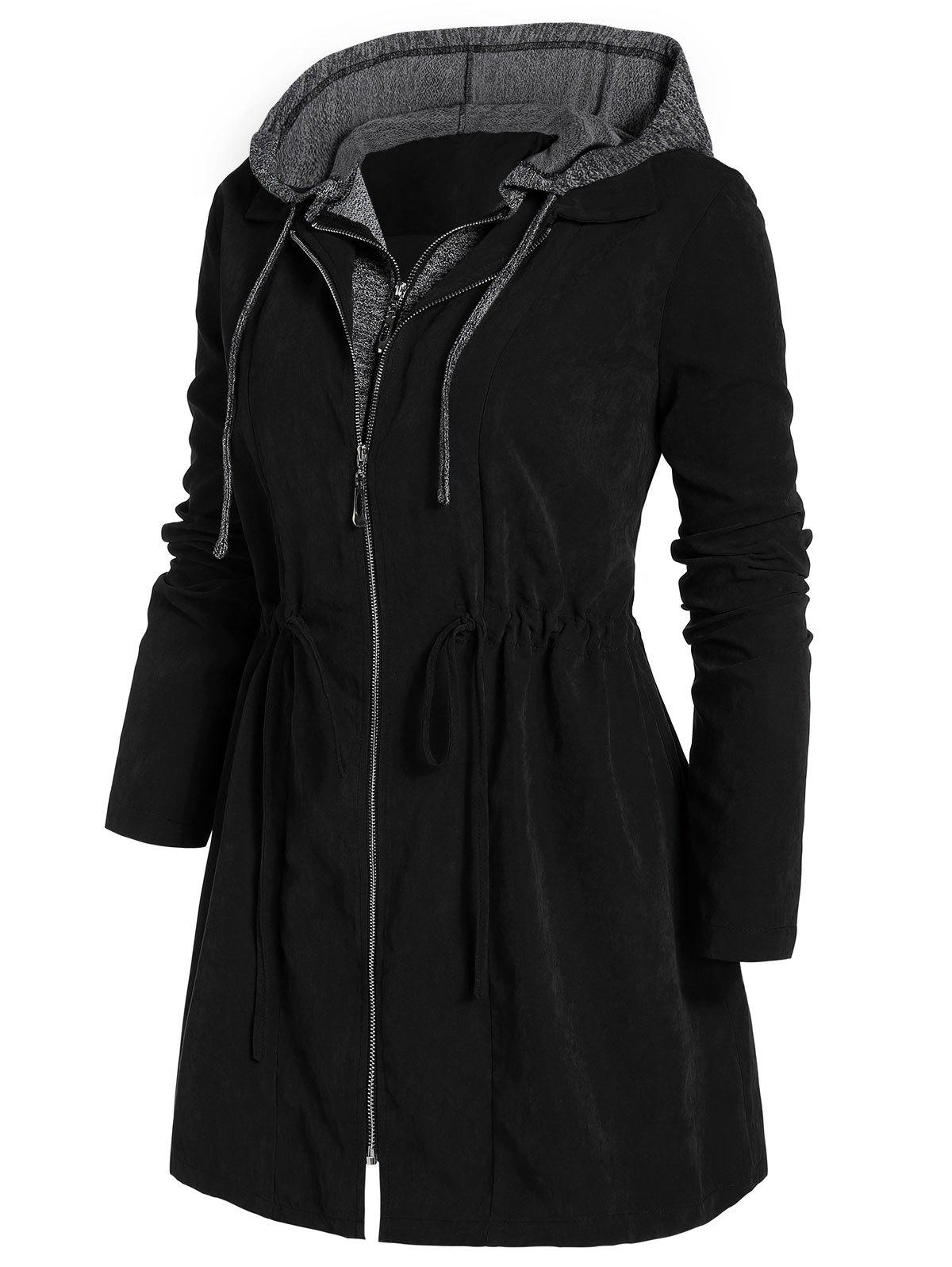 Plus Size Zipper Fly Hooded Space Dye Coat - BLACK L