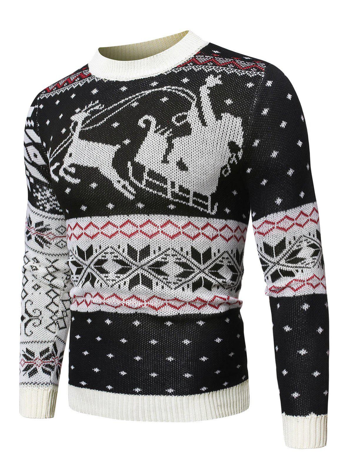 Wapiti Pattern Christmas Pullover Sweater - BLACK M