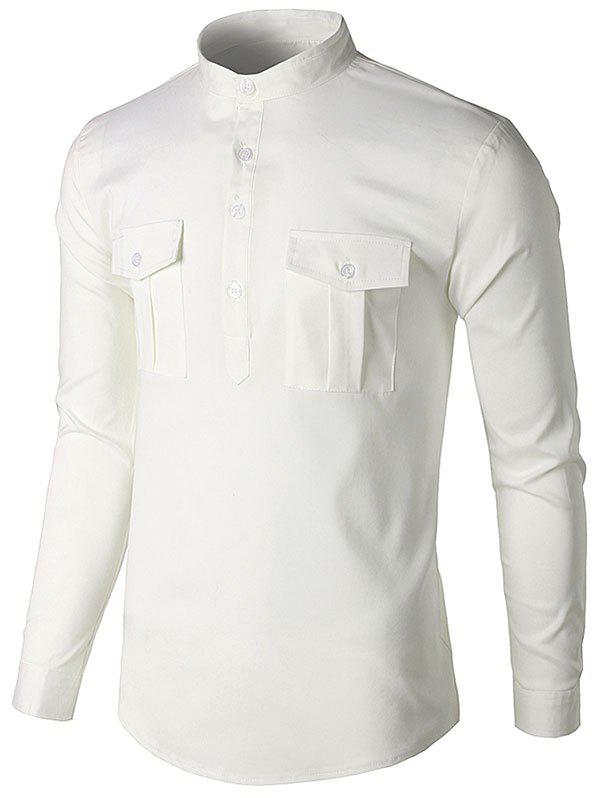 Solid Color Chest Pocket Half Button Shirt - WHITE S
