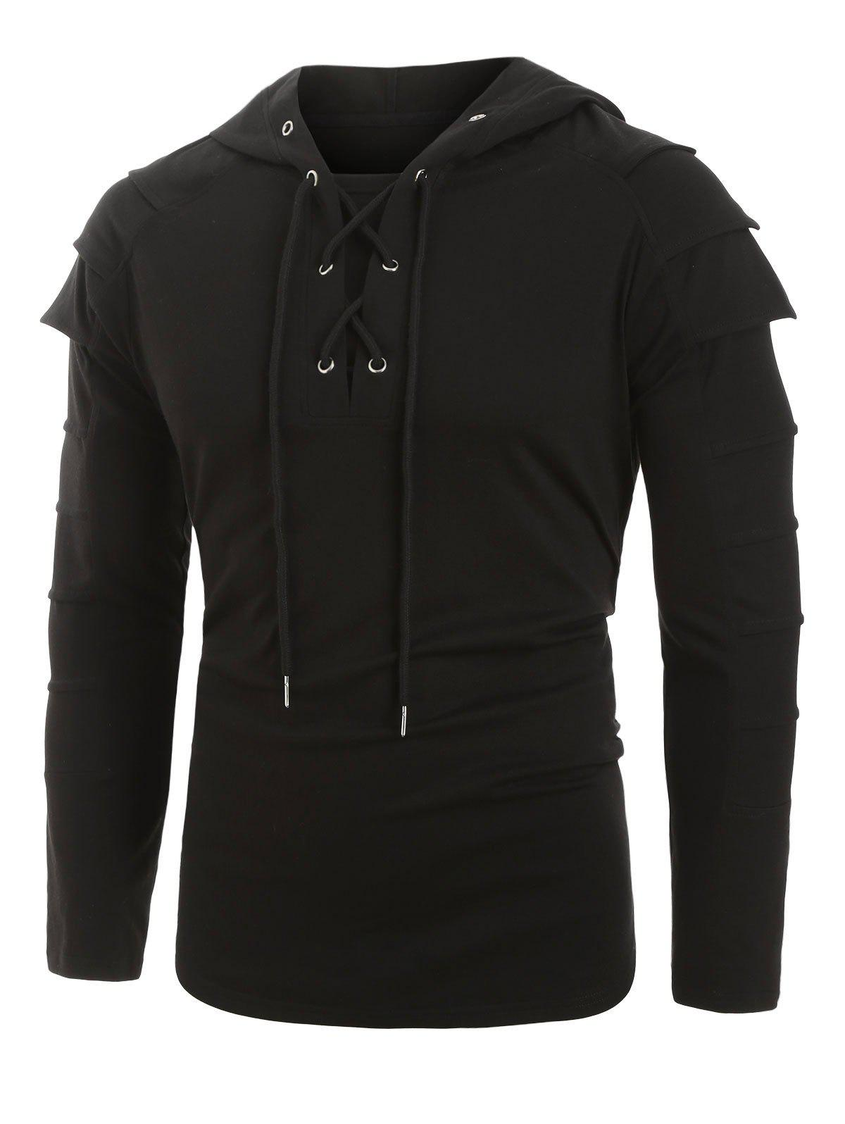 Layered Sleeve Lace-up Front Pullover Hoodie - BLACK S