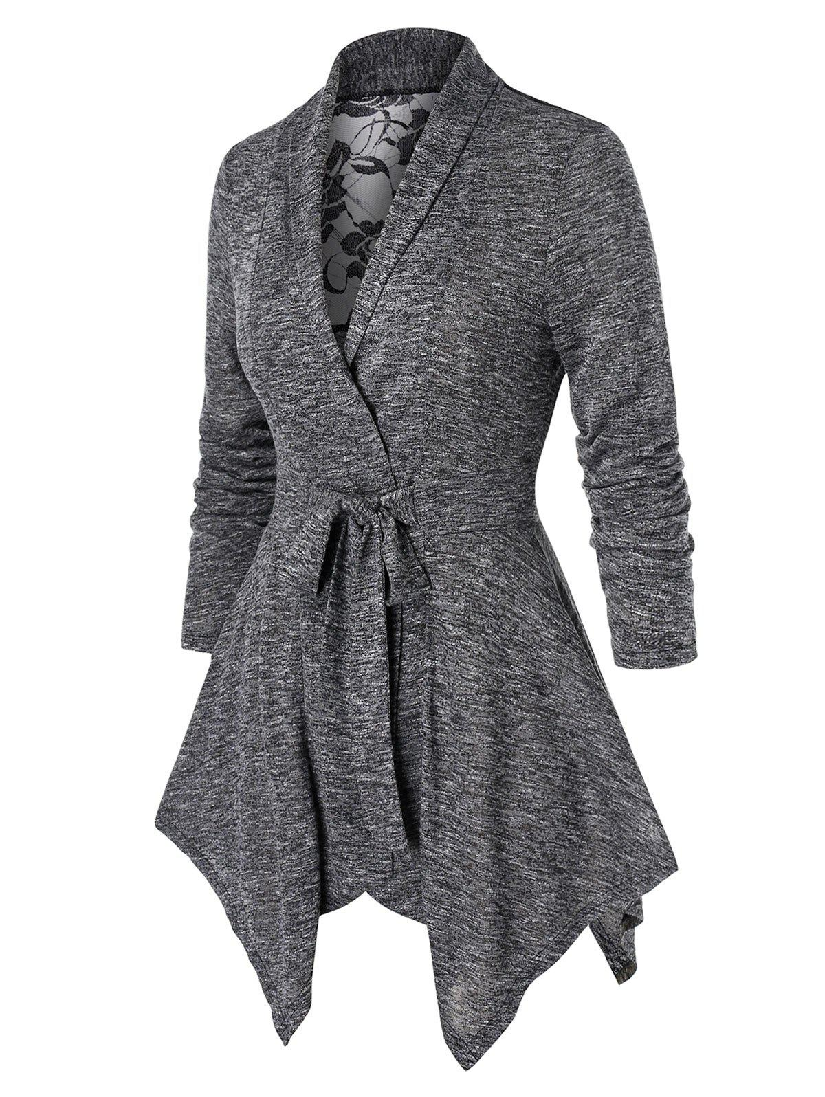 Plus Size Long Sleeve Marled Lace Insert Coat - GRAY CLOUD 4X