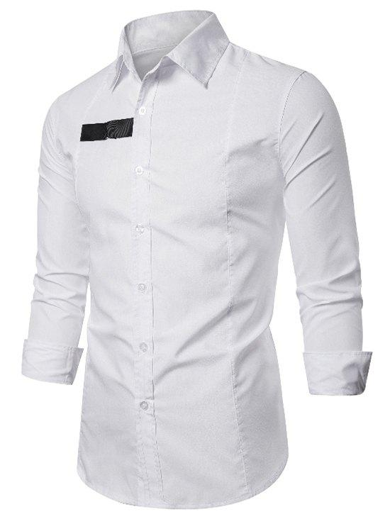 D-ring Patch Button Up Long Sleeve Shirt - WHITE S