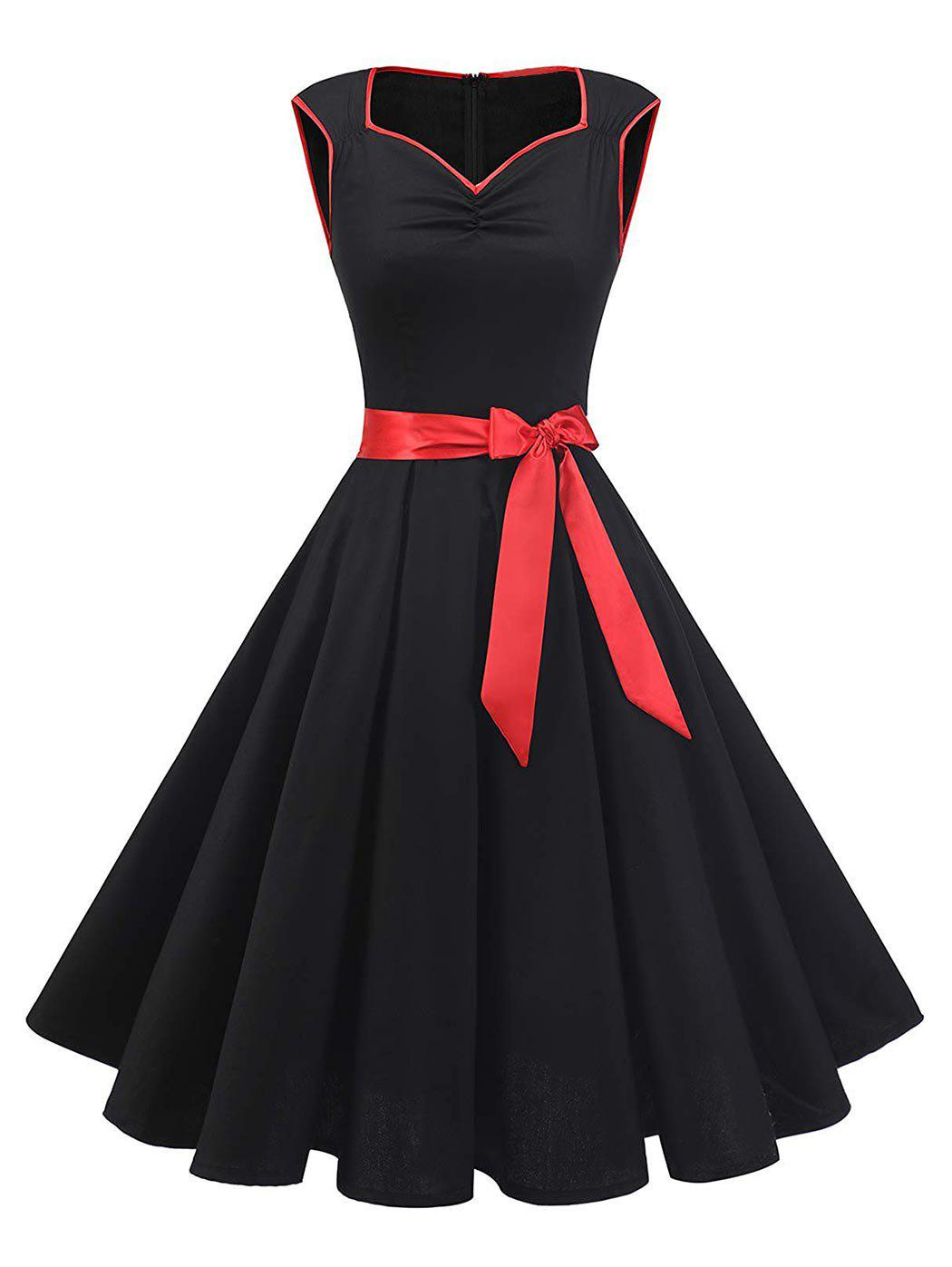 Plus Size Sweetheart Neck Ruched Vintage Swing Dress - BLACK 3X