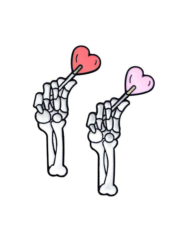 Skeleton Hand Lover Brooch Set - WHITE
