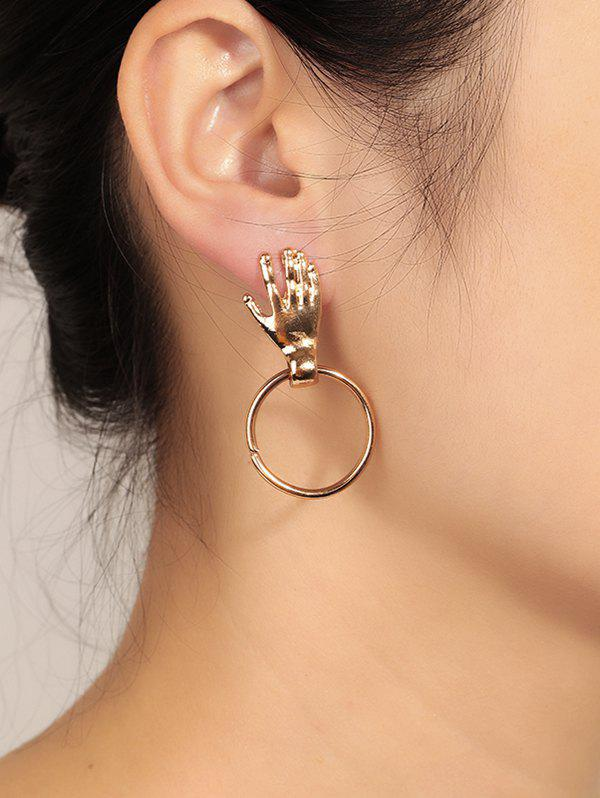 Unique Hand Circle Earrings - GOLD