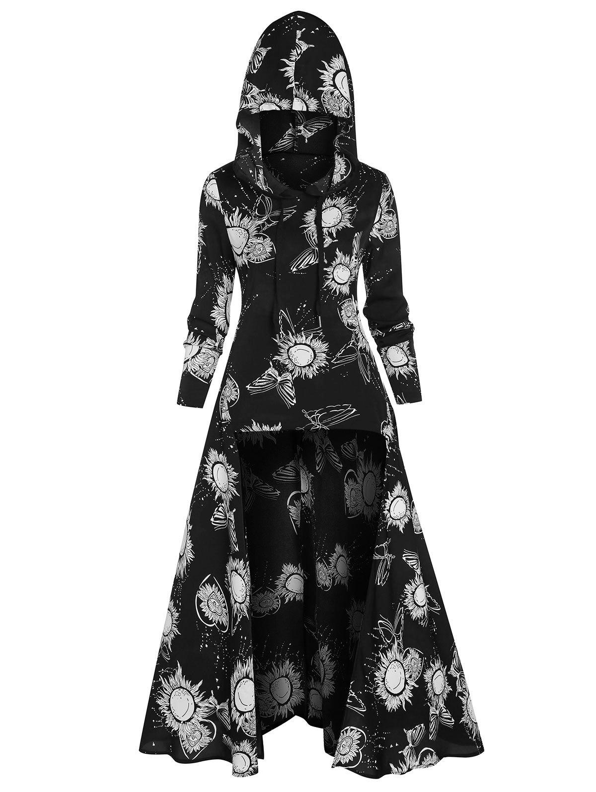 Drawstring Sun Print High Low Long Hoodie - BLACK M