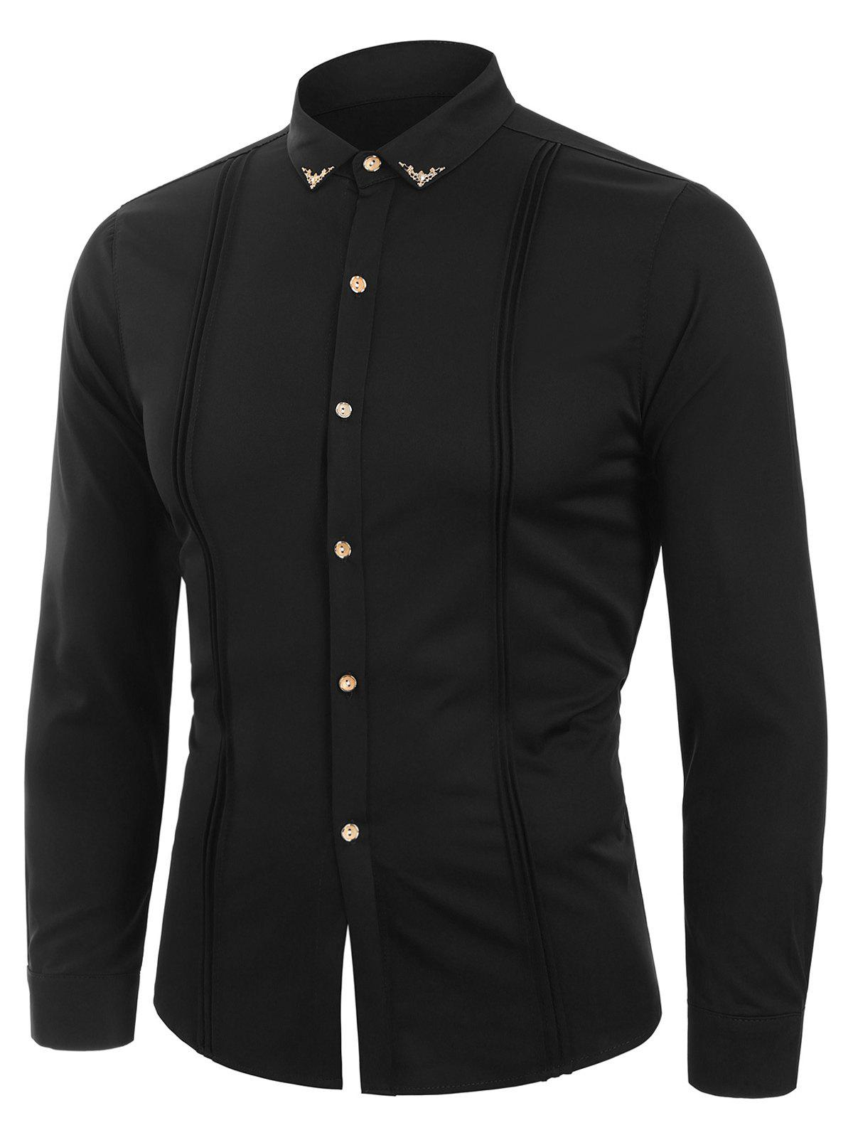 Long Sleeve Metal Design Button Up Slim Fit Shirt - BLACK XS