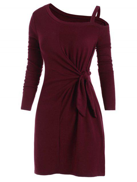 Skew Neck Belted Long Sleeve Dress - RED WINE XL