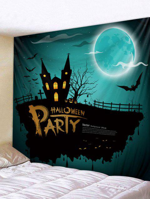 Halloween Castle Bats Pattern Tapestry - LIGHT SEA GREEN W59 X L79 INCH
