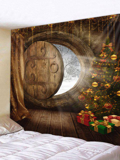 Christmas Tree Gifts Door Print Wall Tapestry - CAMEL BROWN W59 X L59 INCH