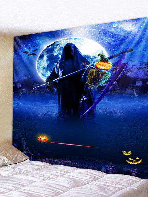 Halloween Death Pumpkin Lamp Print Wall Tapestry - COBALT BLUE W79 X L59 INCH