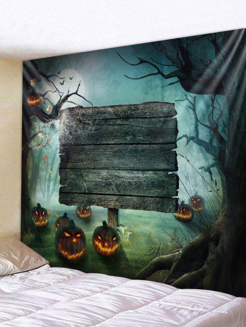 Halloween Pumpkin Wooden Board Wall Tapestry - BLUE GRAY W59 X L59 INCH