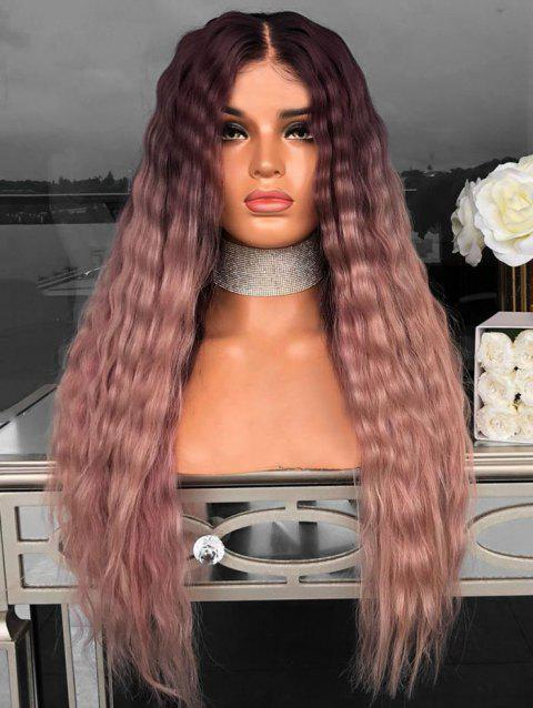 Long Center Part Halloween Ombre Synthetic Yaki Wig - ORANGE PINK 24INCH