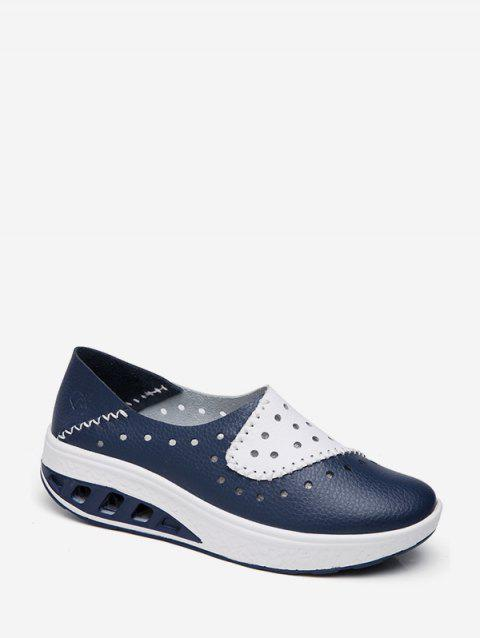 Perforated PU Leather Slip On Shoes - BLUE EU 39