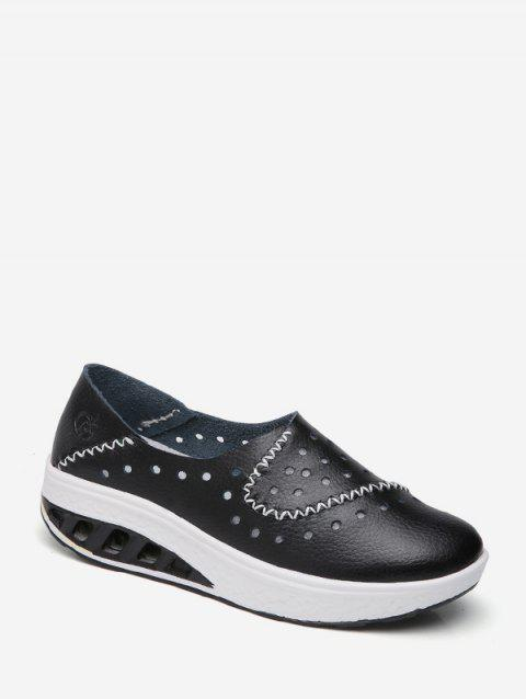 Perforated PU Leather Slip On Shoes - BLACK EU 37