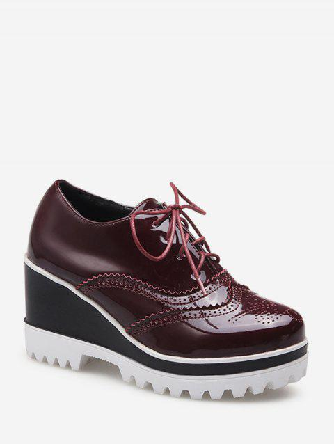 Wingtip Lace Up Wedge Heel Shoes - RED WINE EU 40