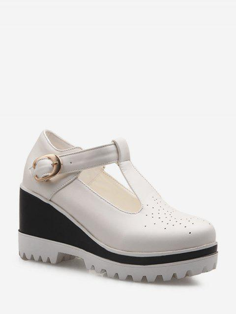 Cut Out Buckle Strap Wedge Heel Shoes - WHITE EU 42