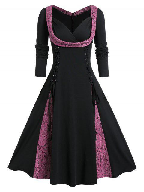 Plus Size Lace Up Fit And Flare Long Sleeve Vintage Dress - FLAMINGO PINK 5X