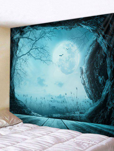 Halloween Moon Night Cave Print Tapisserie Tenture murale Art Décoration - Bleu Hosta W91 X L71 INCH