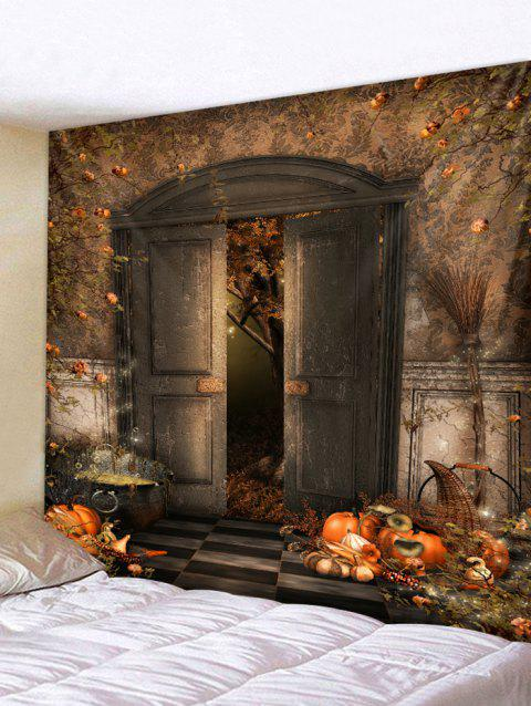 Halloween Gate Pumpkin Print Tapestry Wall Hanging Art Decoration - BROWN SUGAR W79 X L59 INCH
