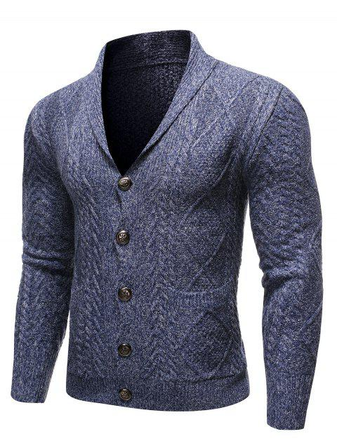 Single-breasted Knitted Long Sleeves Cardigan - DEEP BLUE 2XL