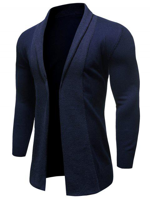Solid Color Knitted Long Sleeves Cardigan - DEEP BLUE 2XL