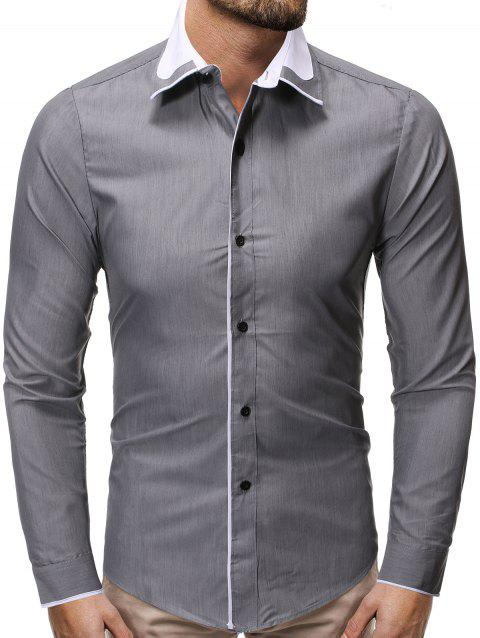 Color Spliced Button Up Casual Shirt - GRAY L
