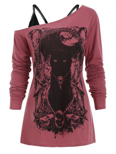Skew Neck Cat Gothic Tee with Cami Top - TULIP PINK 2XL