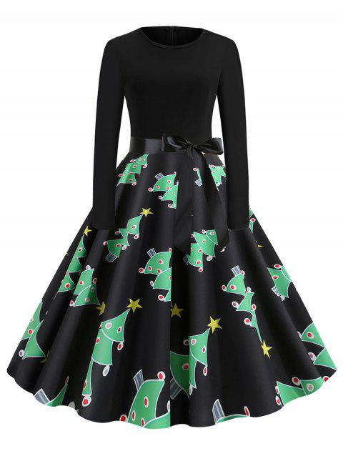 Christmas Long Sleeve Belted Party Dress - multicolor A S